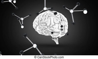 Digitally animated of brain with molecules falling down - ...