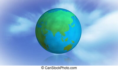 Digitally animated turning earth with clouds and blue sky backdrop