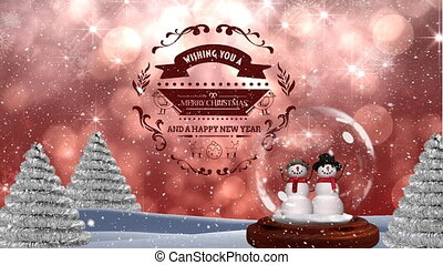 Digitally animation of snowman couple with merry christmas and happy new year text 4k