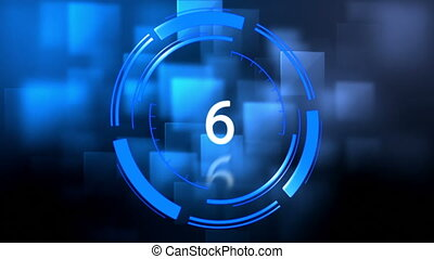 10 to 0 countdown against blue background - Digitally...