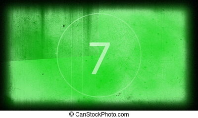 Digitally generated 10 to 0 countdown against green...