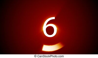 Digitally generated 10 to 0 countdown against red background