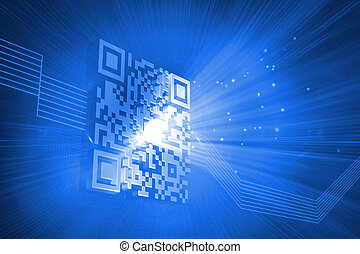 Digitally generated barcode on blue background