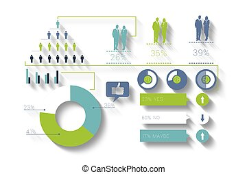 Digitally generated blue and green business infographic on...