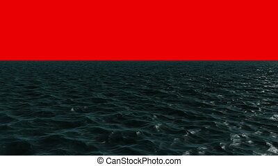 Digitally generated blue ocean moving on red background