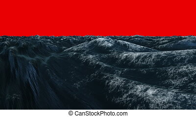 Digitally generated blue ocean swelling on red background