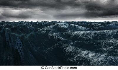 Digitally generated blue ocean swelling against stormy sky