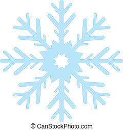 Digitally generated blue snow flake on white background