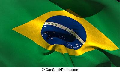 Digitally generated brasil flag waving taking up full screen