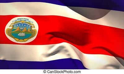Digitally generated costa rica flag waving taking up full...