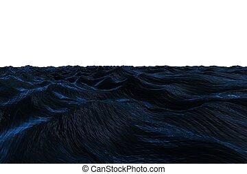 Digitally generated Dark blue rough ocean