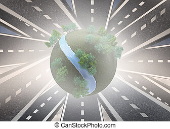 Digitally generated earth floating over streets