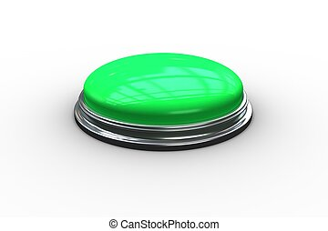 Digitally generated green push button on white background