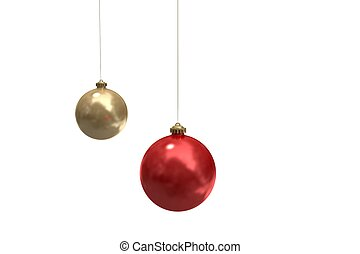 Digitally generated hanging christmas baubles