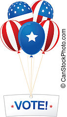 Digitally generated image of balloons and vote banner with American flag design.