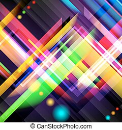 Digitally generated image of colorful light and stripes....