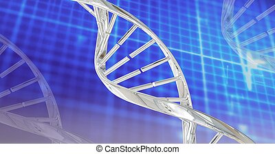 Digitally generated image of dna structures against grid network on blue background