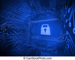 Digitally generated lock surrounded - Digitally generated...
