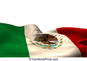 Digitally generated mexico flag rippling on white background