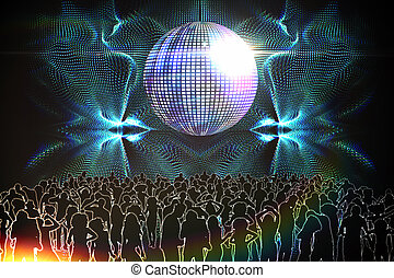 Digitally generated nightclub with disco ball and people...