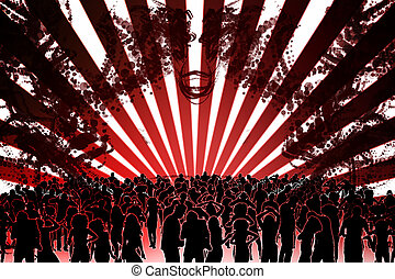 Digitally generated nightclub with people dancing