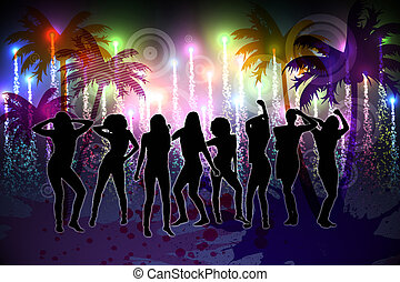 Digitally generated nightlife background with palm trees and...