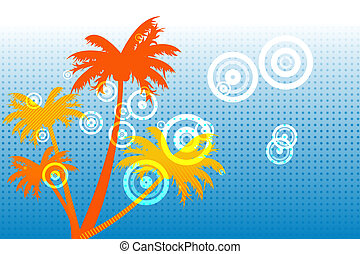Digitally generated palm tree background in orange on blue