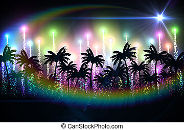 Digitally generated palm tree background with colourful...