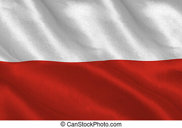 Digitally generated polish flag rippling filling screen
