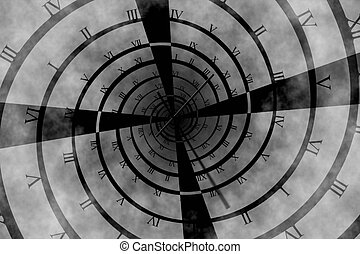 Digitally generated roman numeral clock vortex on grey...