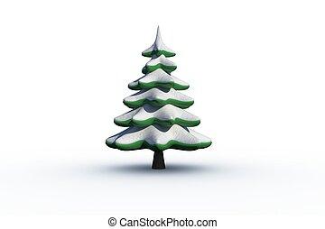 Digitally generated snowy Fir tree