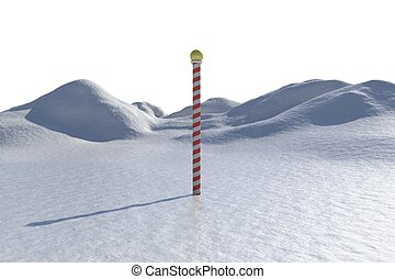 Digitally generated snowy landscape with pole