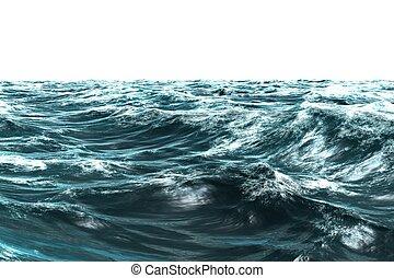 Digitally generated stormy blue sea