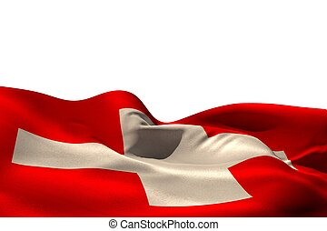 Digitally generated swiss flag rippling