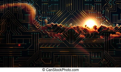 Digitally generated video of circuit board and sunset...
