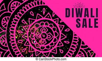 Diwali Sale text against fireworks display 4k