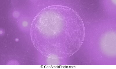 Digitally generated video of globe of network connection ...