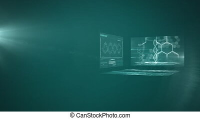 Digitally generated video of glowing light spot and medical ...