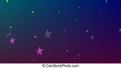 Digitally generated video of glowing stars moving against blue background