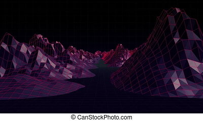 Digitally generated video of mountain