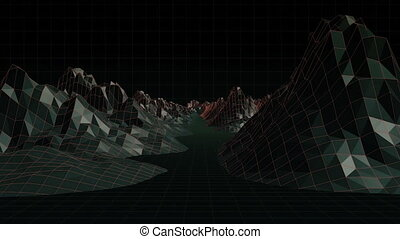 Digitally generated video of mountain concept