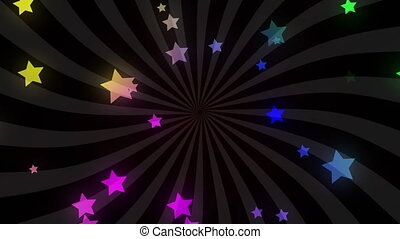 Digitally generated video of multi colored stars moving ...