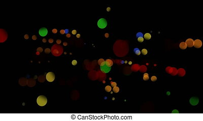 Digitally generated video of multicolored circles against ...