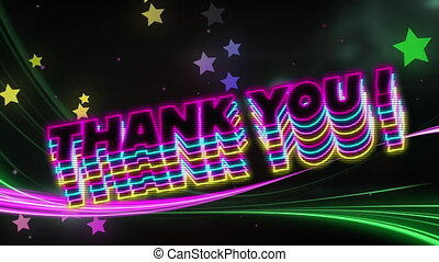 Animation of the words Thank You! written in black letters with multiple rainbow stars moving in hypnotic motion on black background. Colour and movement concept digitally generated image.