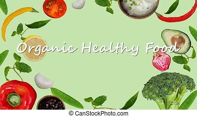 Digitally generated video of organic healthy food