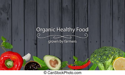 Digitally generated video of organic healthy food