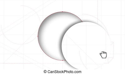 Digitally generated video of pen nib drawing circle cutout
