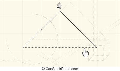 Digitally generated video of pen nib drawing triangle cutout