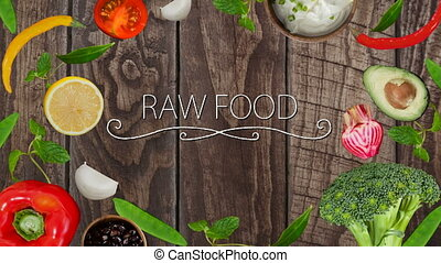 Digitally generated video of raw food