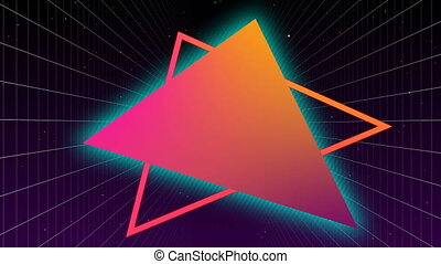 Digitally generated video of triangle outline
